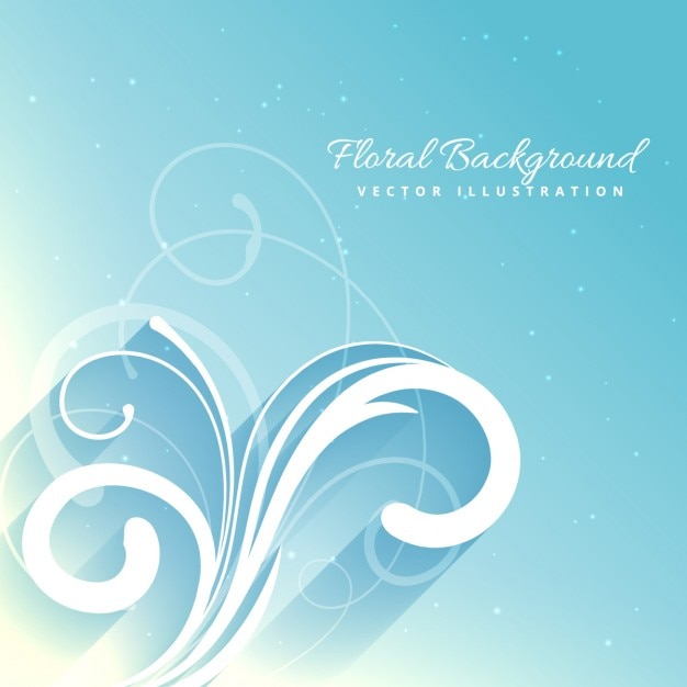 Beautiful floral background in blue color Free Vector