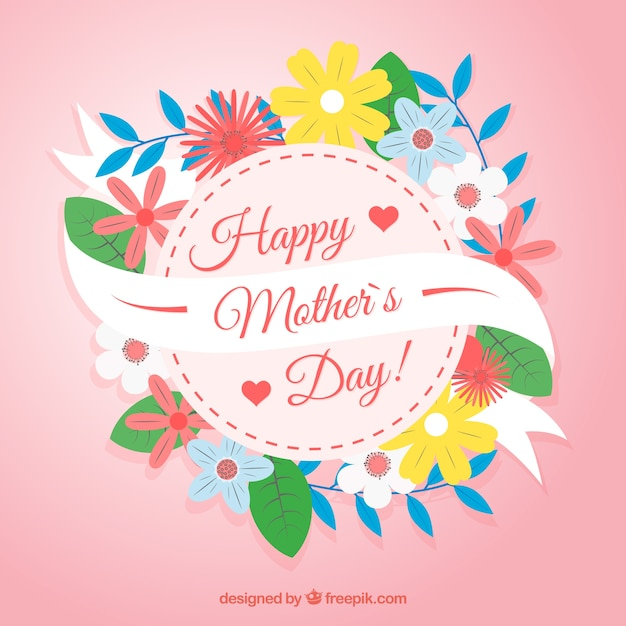 Beautiful floral background of mother day  Free Vector