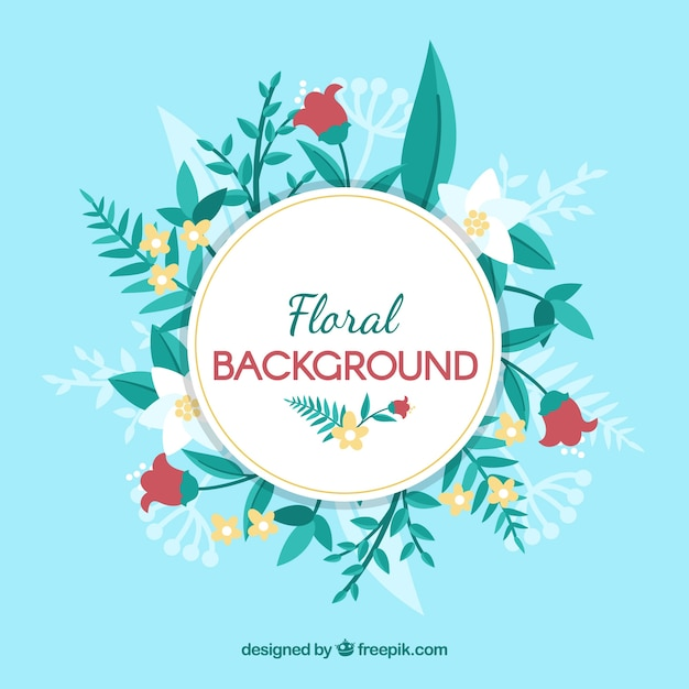 Beautiful floral background with flat design Free Vector