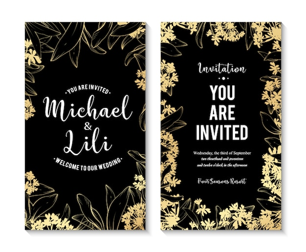 Beautiful floral banners set. element for design or invitation card Free Vector