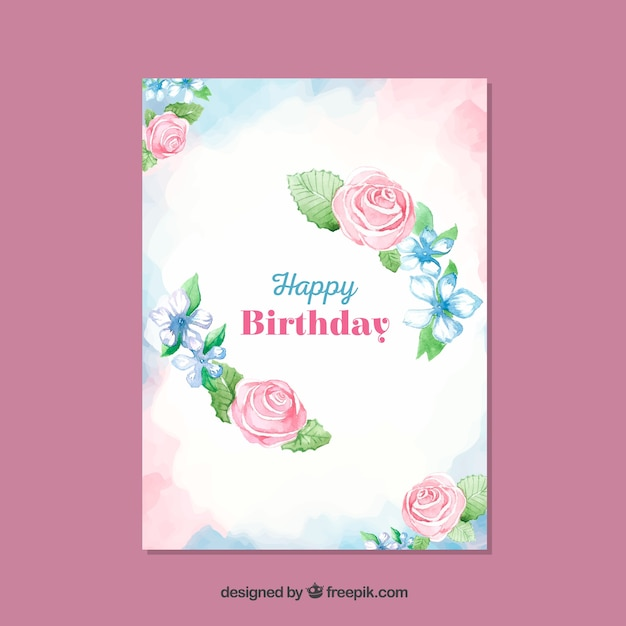 Beautiful floral birthday card template