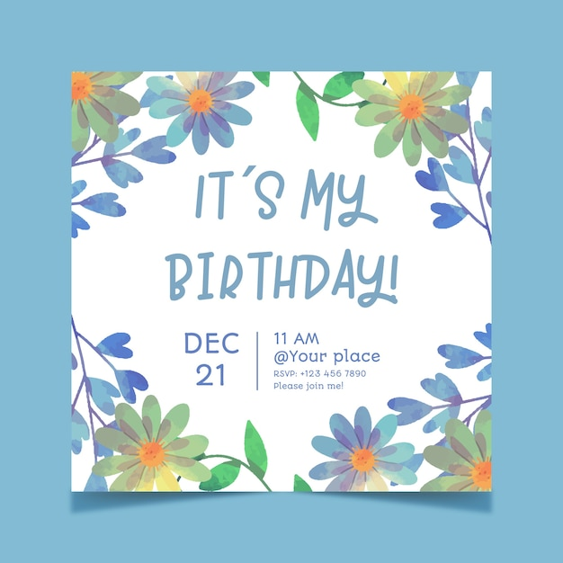 Beautiful floral birthday card template Free Vector