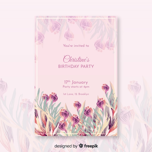 Beautiful floral birthday invitation template Free Vector