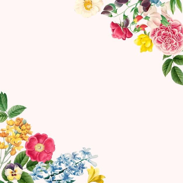 Beautiful Floral Border Design Vector Free Vector