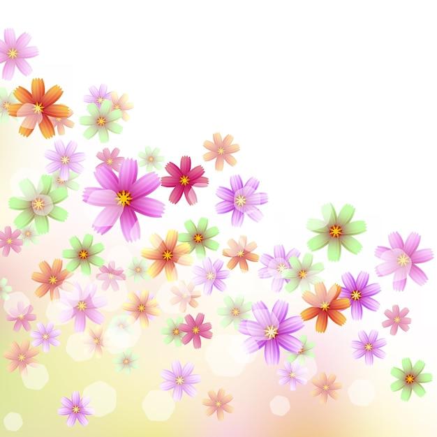 コーナーの装飾などのための美しい花のボーダー 無料ベクター