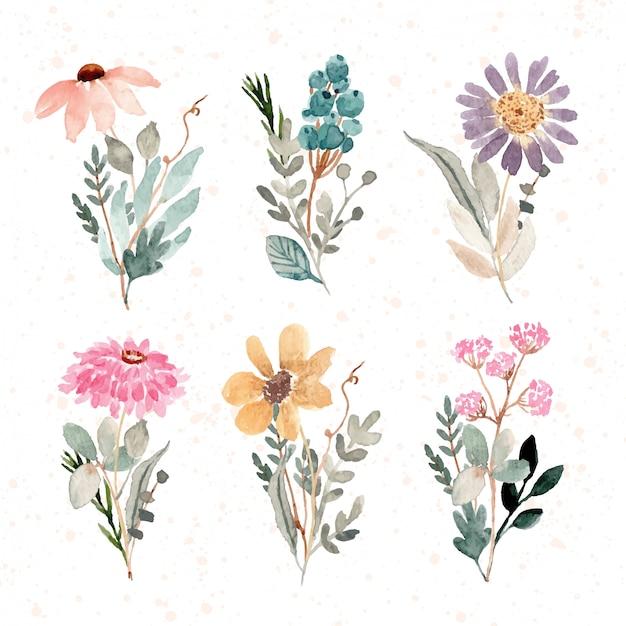 Красивый цветочный букет акварельная коллекция Premium векторы