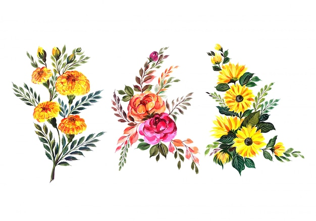 Beautiful floral bunch set Free Vector