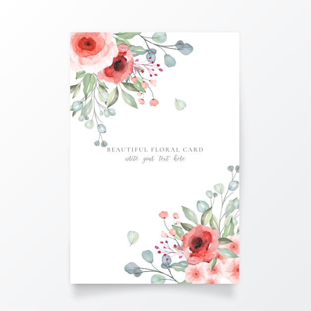 Beautiful floral card template Free Vector