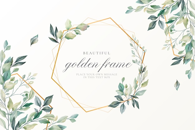 Beautiful floral card with golden frame Free Vector