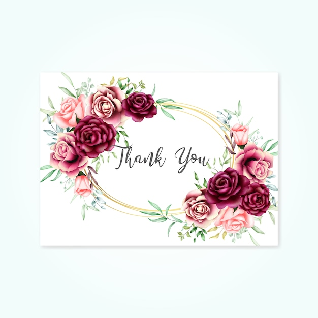 Beautiful floral card with thank you message Premium Vector