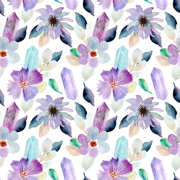 Beautiful floral and crystal watercolor seamless pattern Premium Vector