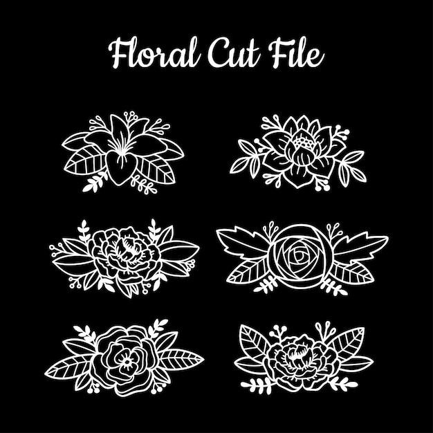 Beautiful floral cut file elements Premium Vector