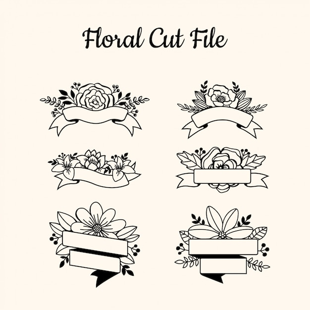 Beautiful floral cut file elements Premium Vector