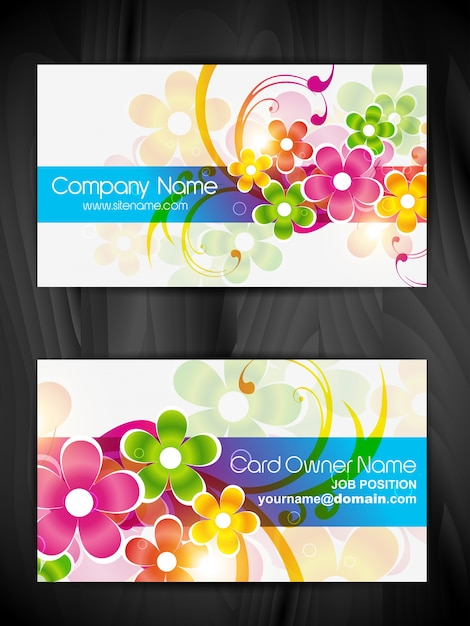 Beautiful floral design business card design Vector | Free Download