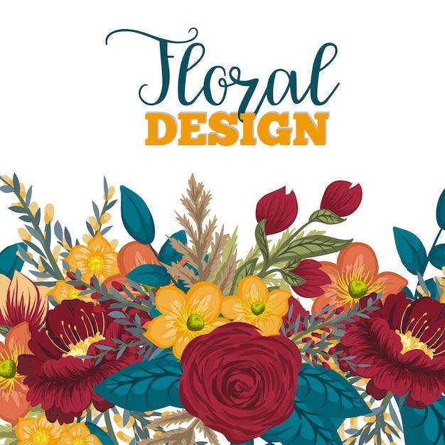 Beautiful floral design.vector illustration Premium Vector