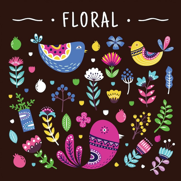 Beautiful floral elements set Premium Vector