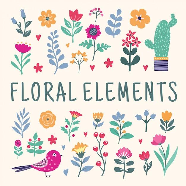 Набор красивых цветочных элементов Premium векторы