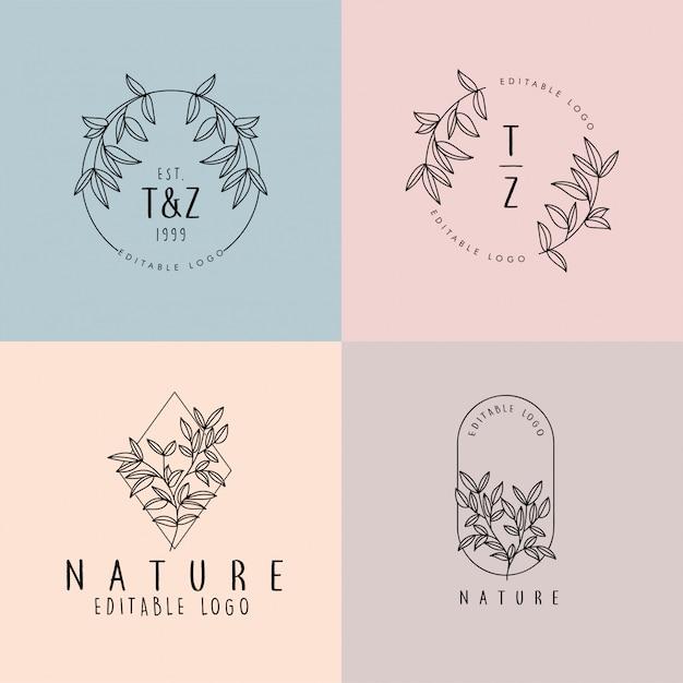 Beautiful floral feminine editable premade monoline logo Premium Vector