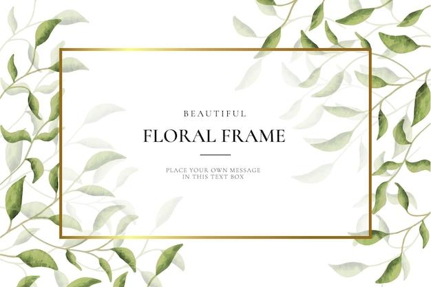 Фон красивая цветочная рамка с листьями Бесплатные векторы