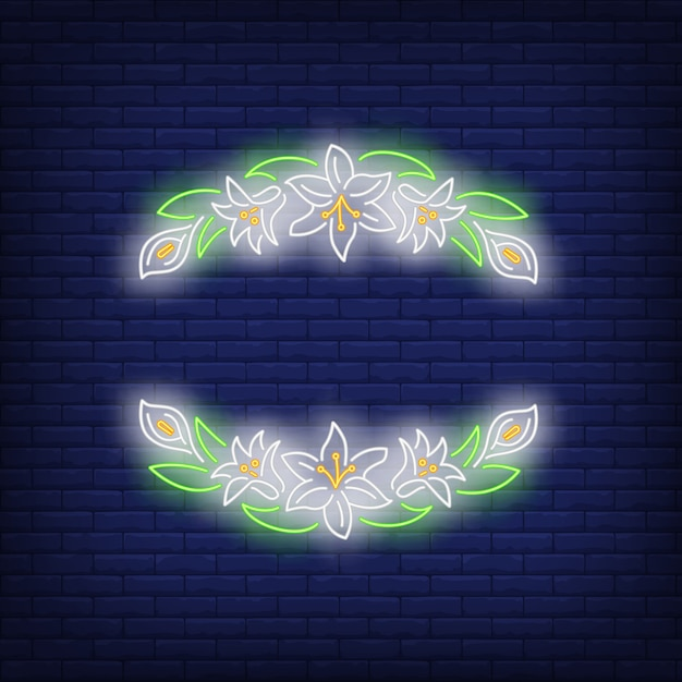 Beautiful floral frame neon sign Free Vector