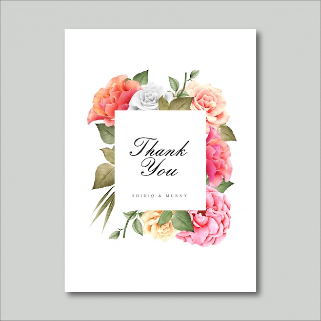 Beautiful floral frame, thank you card Premium Vector