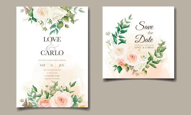 美しい花のフレームの結婚式の招待カードテンプレートセット Premiumベクター