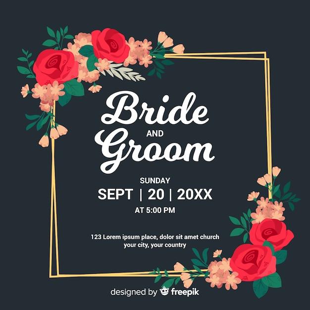 Beautiful floral frame wedding invitation Free Vector
