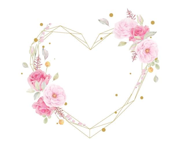 핑크 장미 수채화와 아름 다운 꽃 프레임 무료 벡터