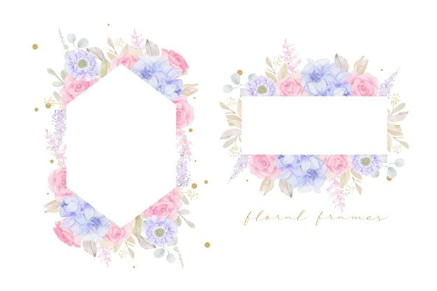 水彩花と美しい花のフレーム 無料ベクター