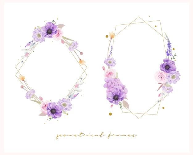 Bella cornice floreale con rose dell'acquerello Vettore gratuito
