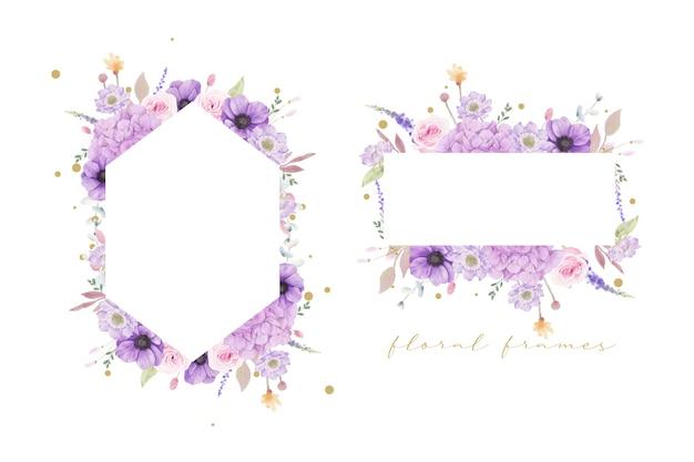 수채화 장미와 아름 다운 꽃 프레임 무료 벡터