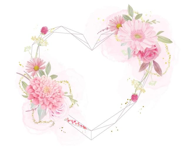 水彩のバラ、ダリア、ガーベラの花と美しい花のフレーム Premiumベクター