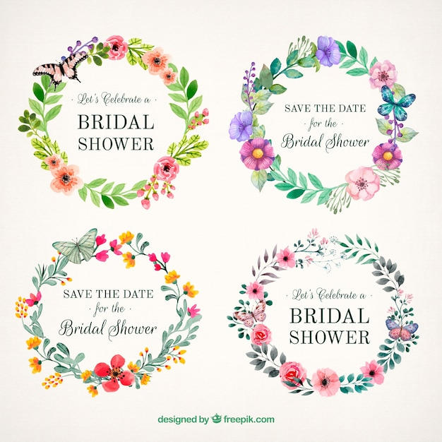Beautiful floral frames with butterflies Free Vector