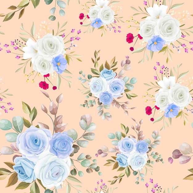 美しい花柄の手描きのシームレスなパターンデザイン 無料ベクター