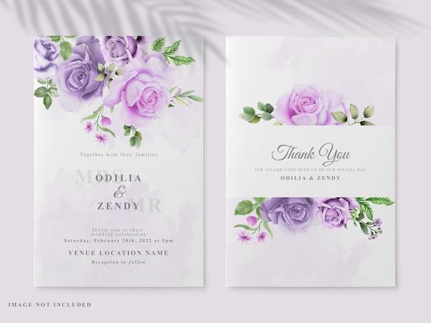 Beautiful floral hand drawn wedding invitation card Premium Vector