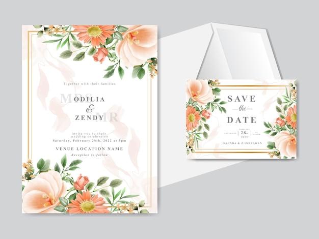 Красивая цветочная рисованная свадебная пригласительная открытка Premium векторы