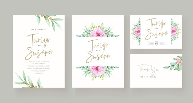 Beautiful floral invitation card template Free Vector