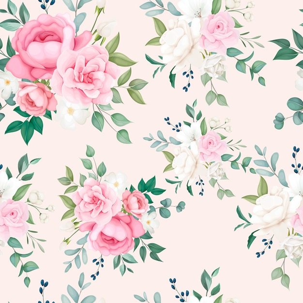 Beautiful floral and leaves seamless pattern Free Vector