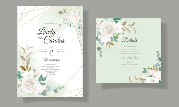 Beautiful floral and leaves wedding invitation card Free Vector