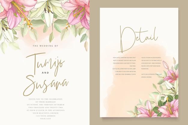 Carta di invito bellissimi fiori di giglio floreale Vettore gratuito
