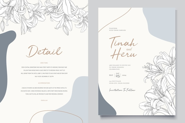 Beautiful floral lily flowers invitation card Free Vector
