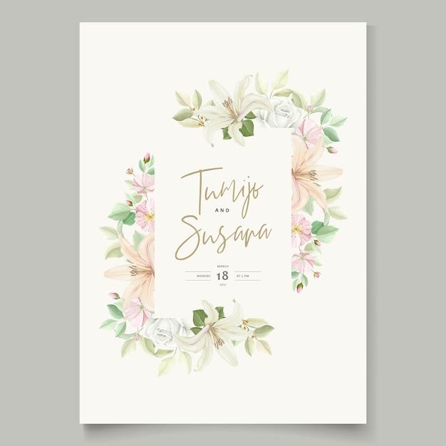 아름 다운 꽃 백합 꽃 초대 카드 무료 벡터