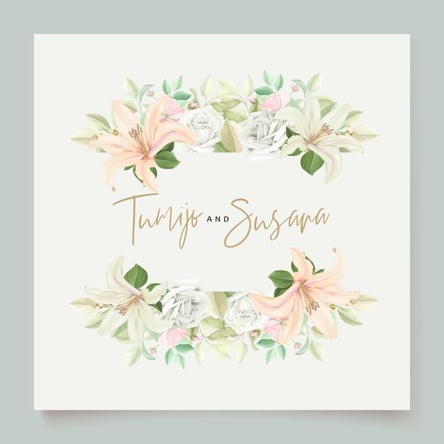美しい花のユリの花の招待カード 無料ベクター