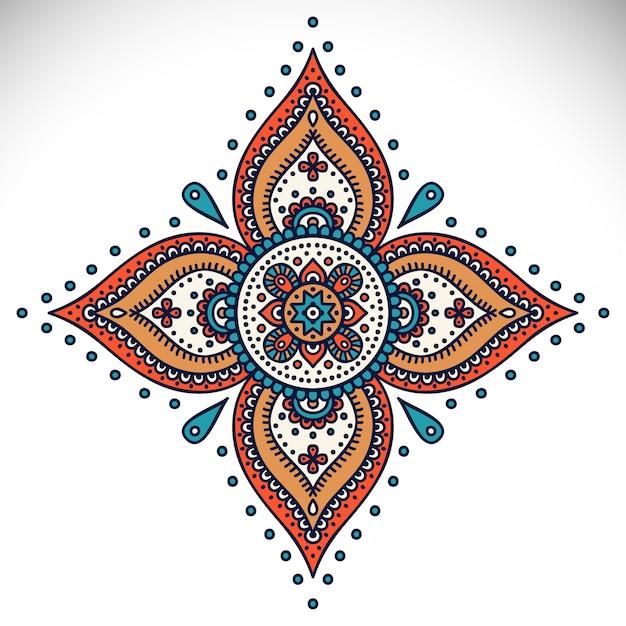 Mandala round ornament pattern vintage elementi decorativi sfondo disegnato a mano Vettore gratuito