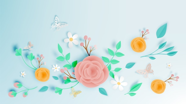 Beautiful floral paper art with butterfly vector illustation Premium Vector