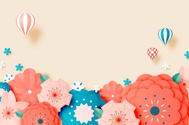 Beautiful floral paper art with pastel color Premium Vector