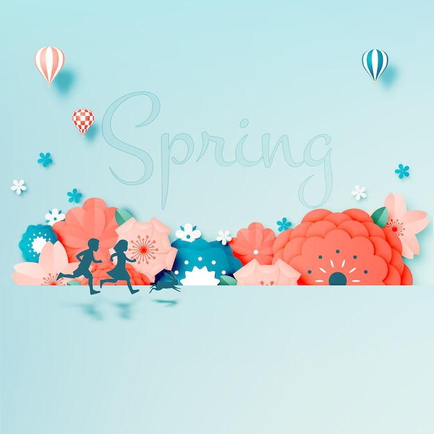 Beautiful floral paper art with pastel color Premium Vector