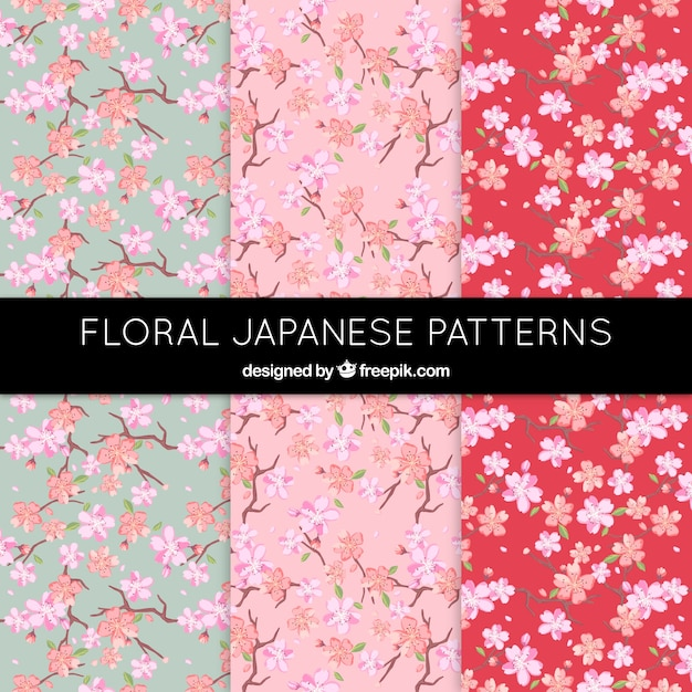 Beautiful floral patterns in japanese style Free Vector