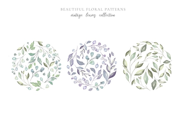 Beautiful floral patterns with watercolor leaves Free Vector