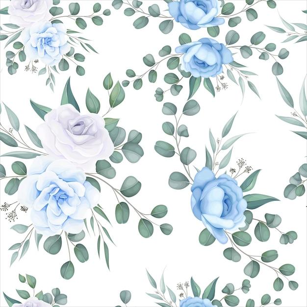 繊細な花飾りと美しい花のシームレスなパターン 無料ベクター